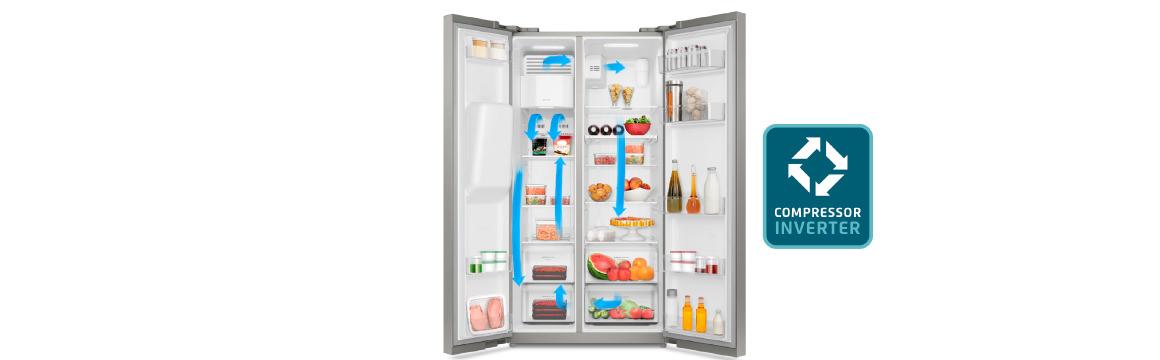 Funciones cajón Flexispace con el refrigerador Side by Side SFX550